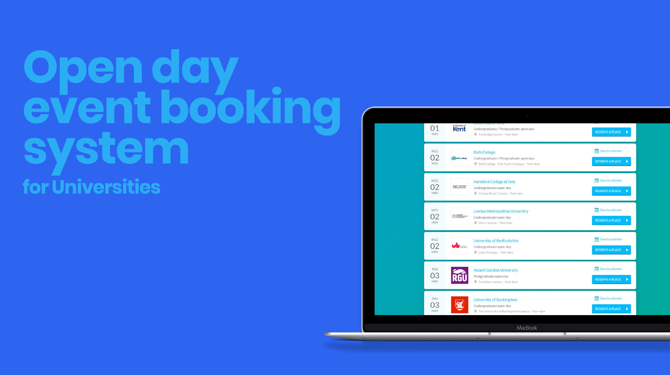 Open day event booking system for Universities